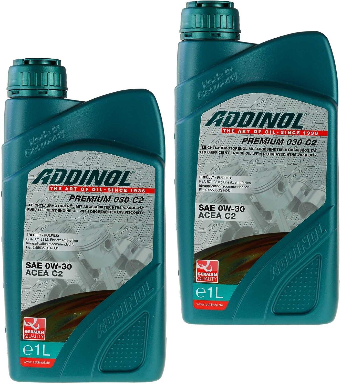 2x Addinol Motoröl Premium 030 C2 Motorenöl Sae 0w 30 Acea 1 Liter Auto