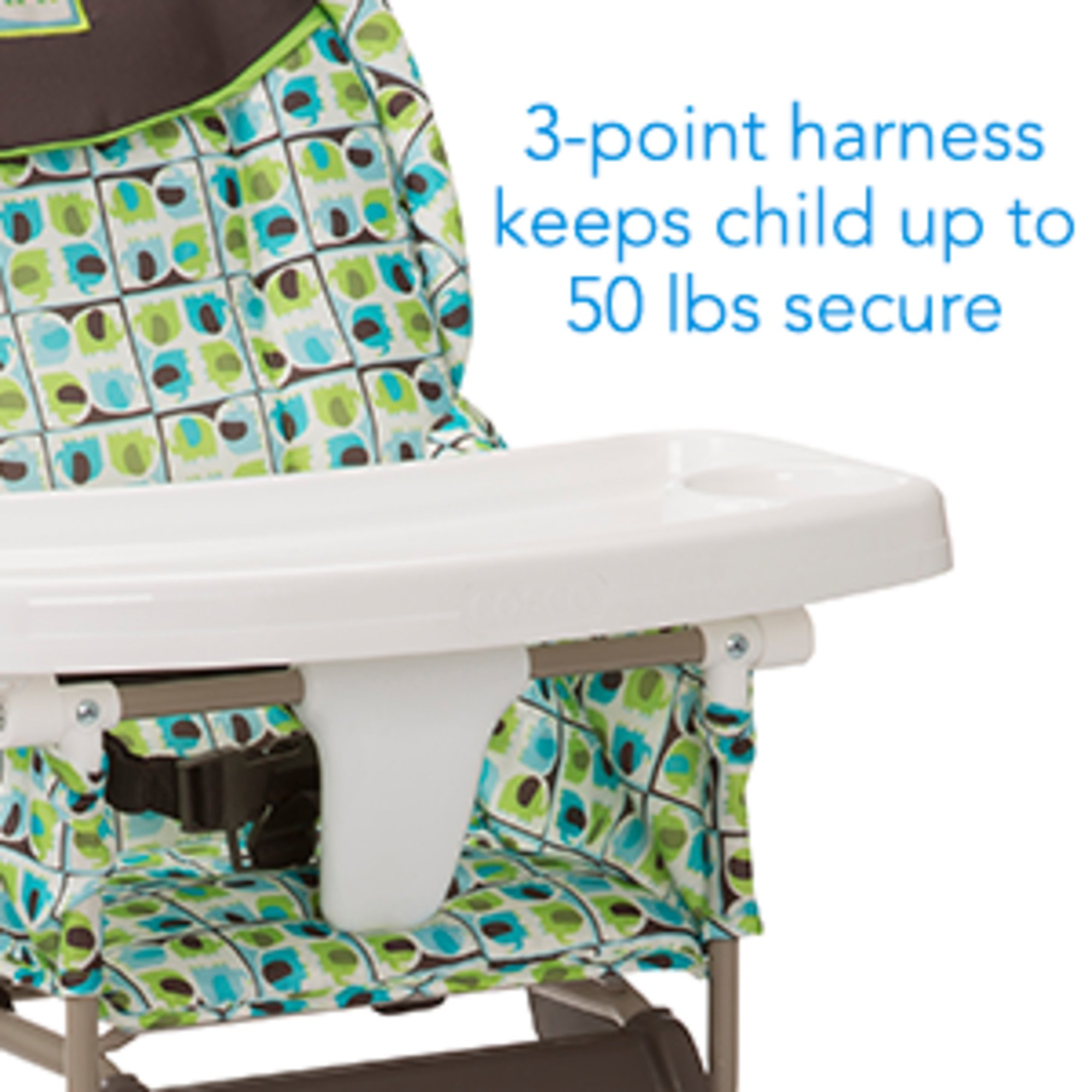 Cosco Simple Fold High Chair with 3-Position Tray Elephant Squares