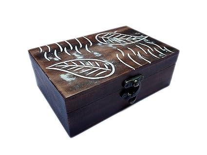 Antiguo Hecho A Mano De Madera Caja decorativa caja de joyas con terciopelo interior/urna