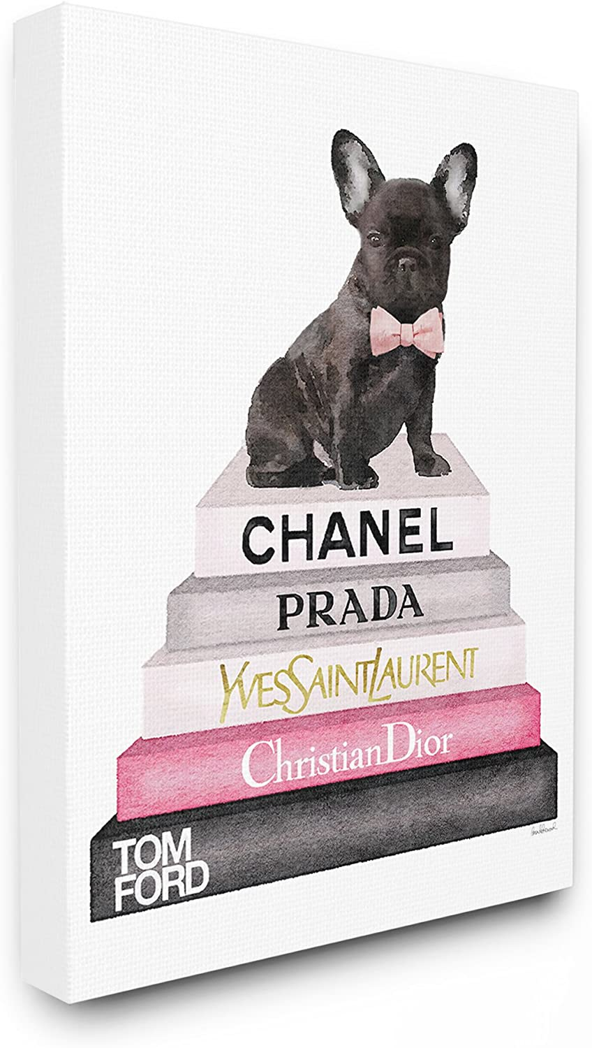 The Stupell Home Decor Collection Book Stack Fashion French Bulldog Stretched Canvas Wall Art, 16 x 20, Multicolor