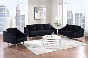 GAOPAN 3 Pieces Living Room Set Include Upholstered Three-Seat Couch, Loveseat and Elegant Curved Armchair,Velvet Fabric Sofa for Home or Office, Black