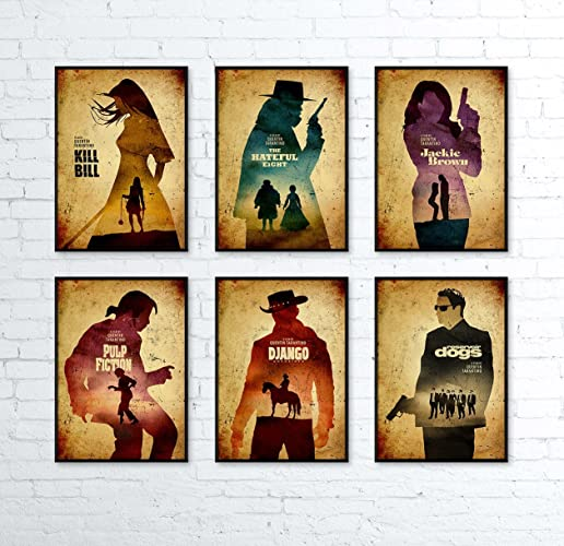 Quentin Tarantino Minimalist Movie Artwork Set 6 Django Unchained Jackie Brown