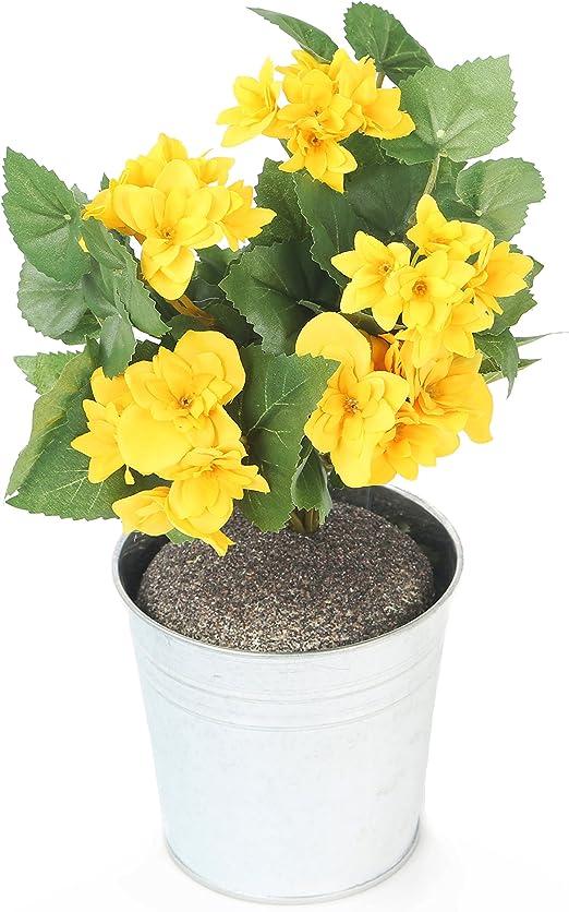 Fiori Gialli Vaso.Closer 2 Nature Hbc009ye Begonia Finta Con Fiori Gialli