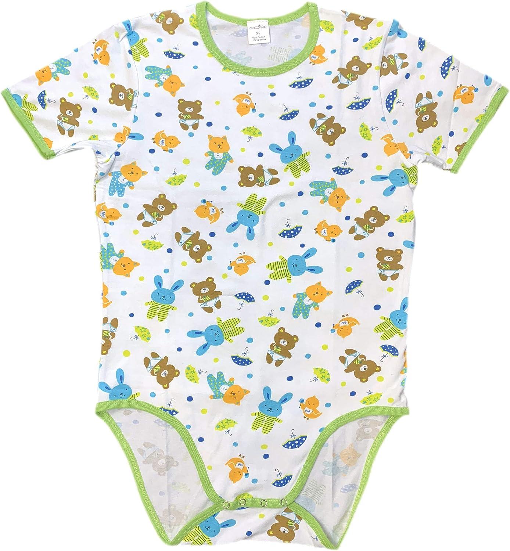 CUDDLZ Teddy Bear Pattern Cotton Stretch Adult Short Onesie ABDL Romper Baby Grow Body Suit