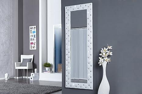 Miroir mural blanc design Capitonné de strass: Amazon.fr ...