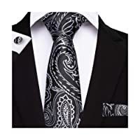 DiBanGu Men's Paisley Tie Handkerchief Silk Woven Floral Tie Pocket Square Cufflink Set for Wedding Prom