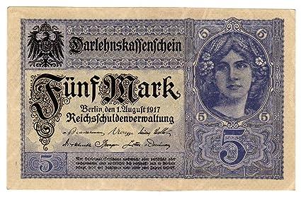 Banknoten Darlehenskassenschein (Nota de préstamo hipotecario) 5 Mark, Imperio alemán, 1917,