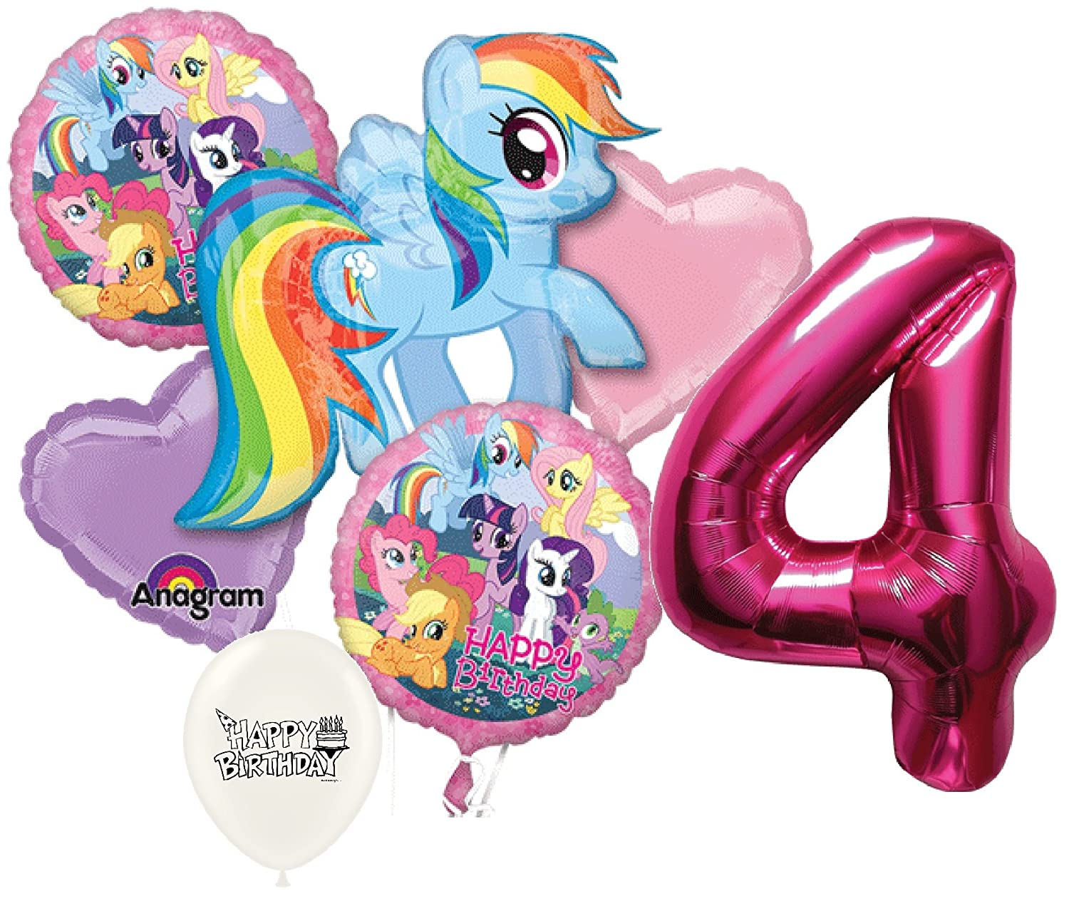 Amazon 4th Birthday Pink Number My Little Pony Party Decorations Balloon Bouquet Bundle Toys Games