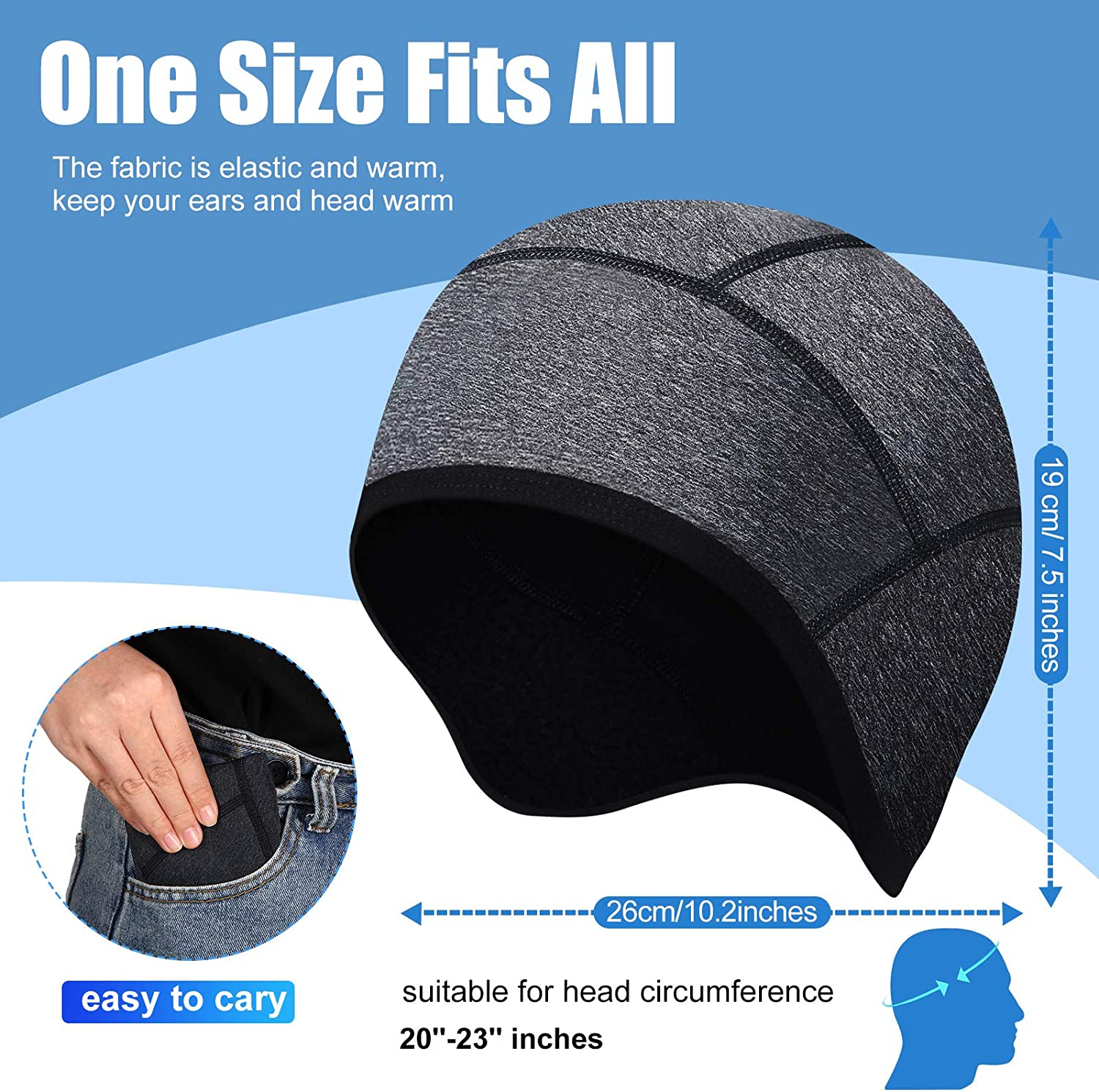Syhood 2 Pieces Skull Cap Helmet Liner Winter Thermal Running Beanie with Ear Cover Cycling Cap for Men and Women Black, Dark Gray