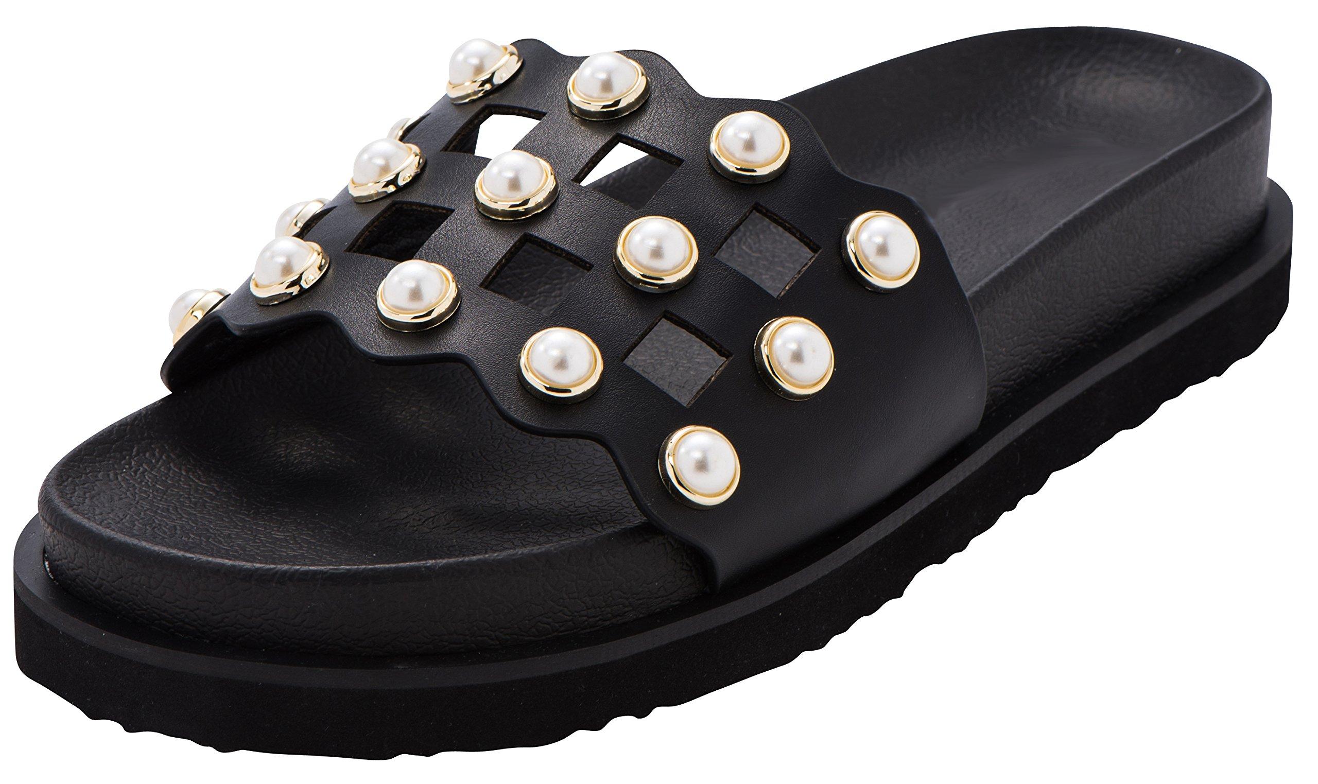 Cambridge Select Women's Open Toe Geometric Cutout Faux Pearl Flatform Flat Slip-On Slide Sandal,6.5 B(M) US,Black