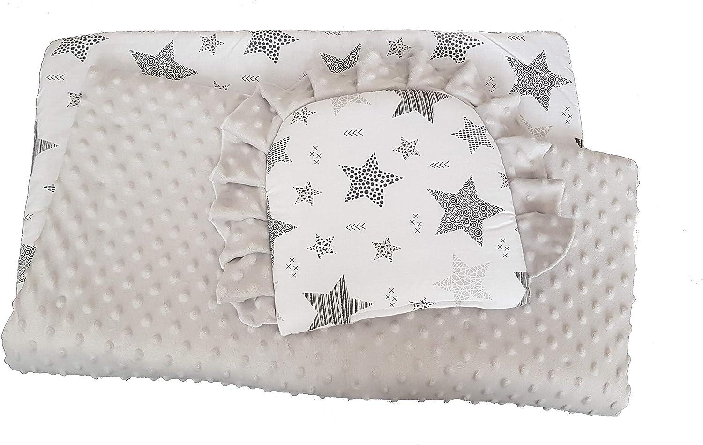 BlueberryShop Minky Juego de fundas para bebé | reversible Edredón Con Almohada Para Recién Nacidos | Para bebés de 0-12 meses| Perfecto como regalo para Baby Shower | 75 x 65 cm | Gris