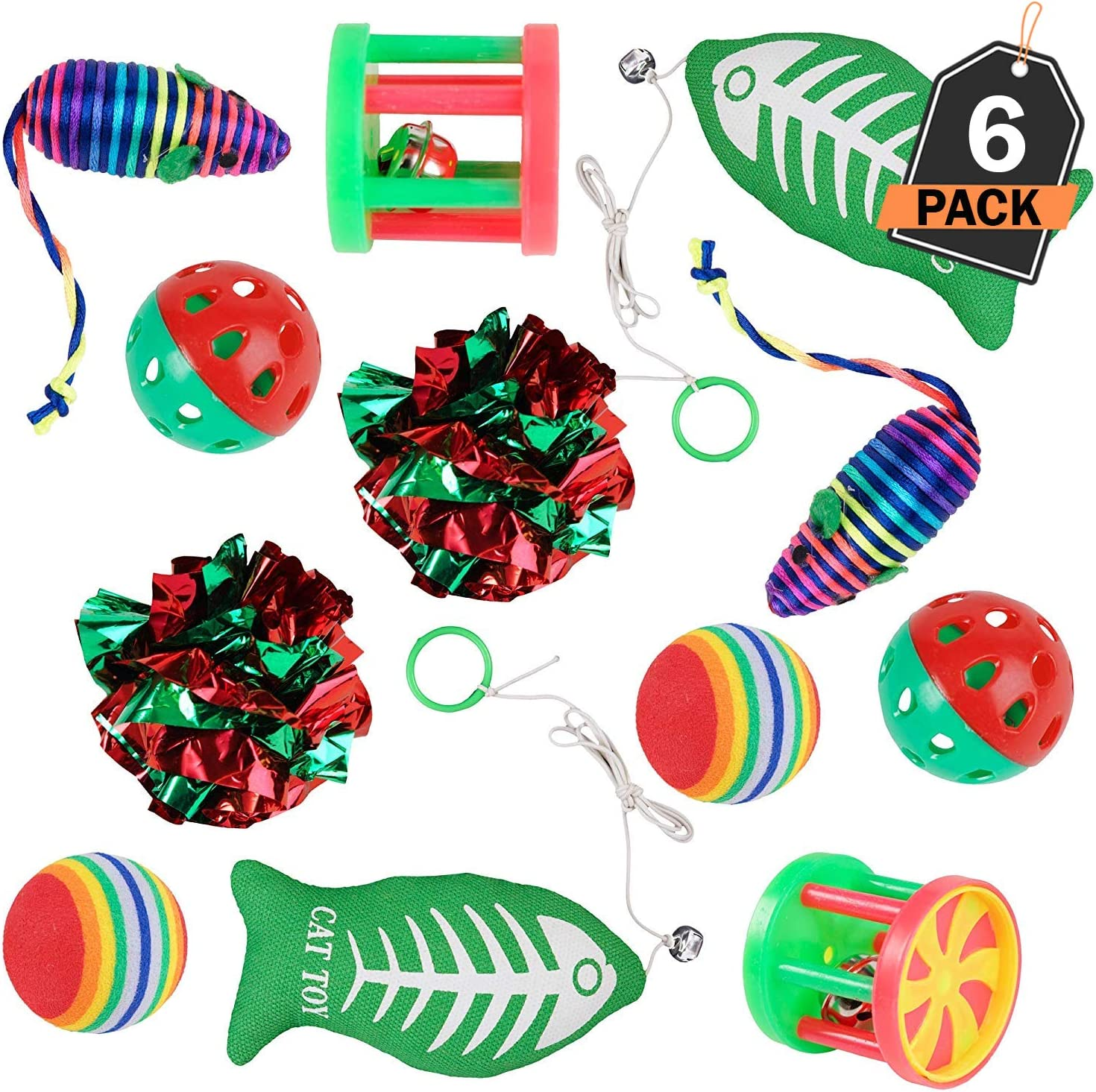 for Kitty 9 Pieces BINGPET Christmas Cat Toys Variety Pack