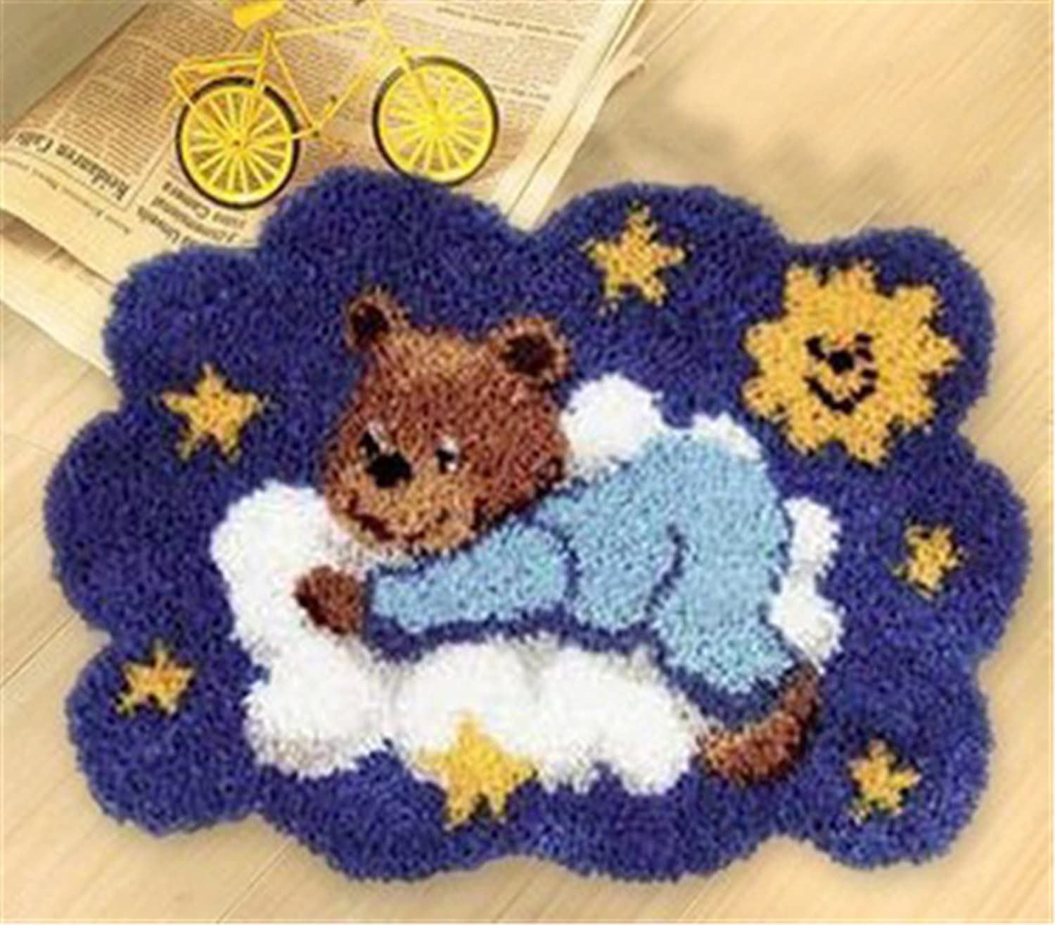 DIY Latch Hook Kit Rug Making Crafts for Kids/Adults 21 inch X 15 inch Bear002 Beyond Your Thoughts