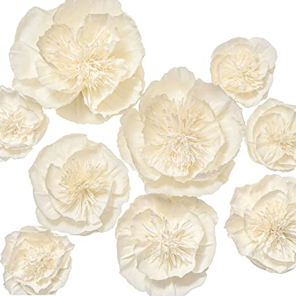Amazon lings moment giant crepe paper flowers 9 x cream white lings moment giant crepe paper flowers 9 x cream white flower handmade classic large mightylinksfo