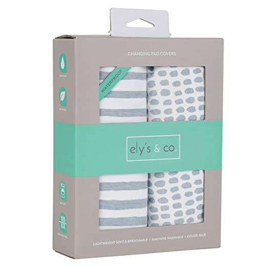 Ely/'s /& Co 100/% Jersey Knit Cotton Sheets with Waterproof Lining Grey Stars Patent Pending Waterproof Changing Pad Cover|Cradle Sheet 2-Pack Set for Baby Boy or Baby Girl