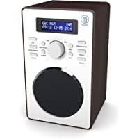 Majority Barton II Radio numérique Dab/Dab+ - Radio FM - Cuisine et Chevet Radio - Radio Reveil Bois - Double Alarme - Snooze Fonction (Noyer)