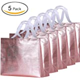 Rumcent Bling Bling Glossy Durable Reusable Medium Non-woven Gift Bag Set Of 5,Shopping Bag,Promotional Bag(Pink)
