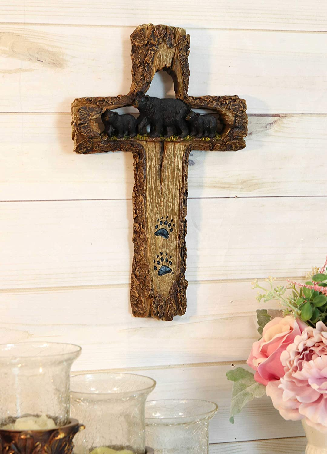 "Ebros Gift 13.5"" Tall Rustic Western Black Bears Momma And Cubs On Bear Trail Wall Cross Decor Hanging Sculpture With Paws Catholic Christian Country Bears Cubs Cabin Lodge Accent Decorative Crosses"