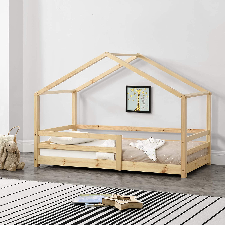Cama para niños 80 x 160 cm Cama Infantil con Somier Estructura de Madera Pino En diseño de Casa con Reja de Seguridad Protección Natural