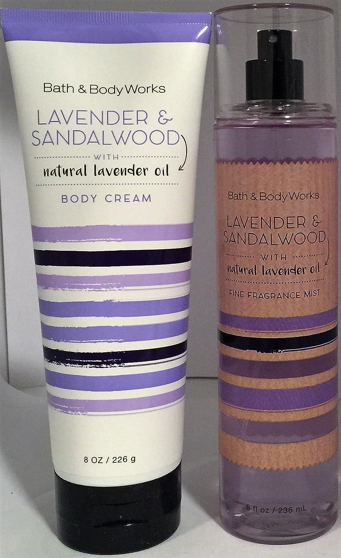 Bath & Body Works Lavender & Sandalwood Fine Fragrance Mist 8 Oz & Bath & Body Works Lavender & Sandalwood Body Cream 8 Oz