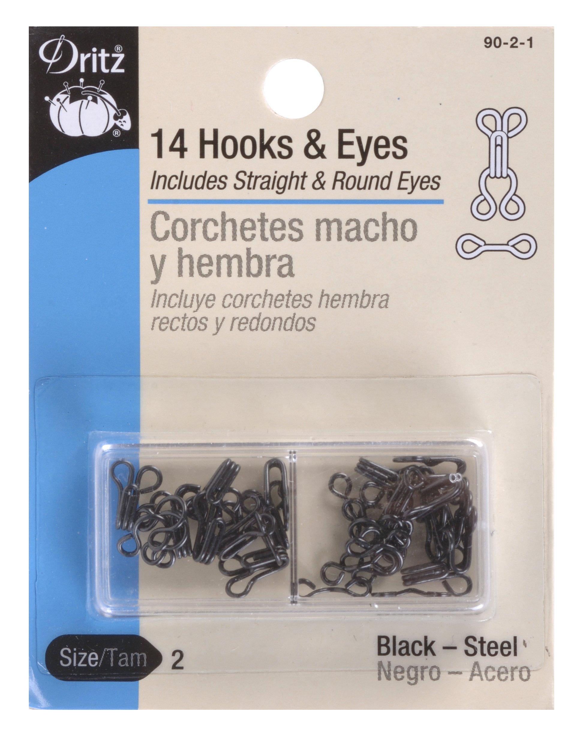 Dritz Hooks & Eyes, Size 2, Black
