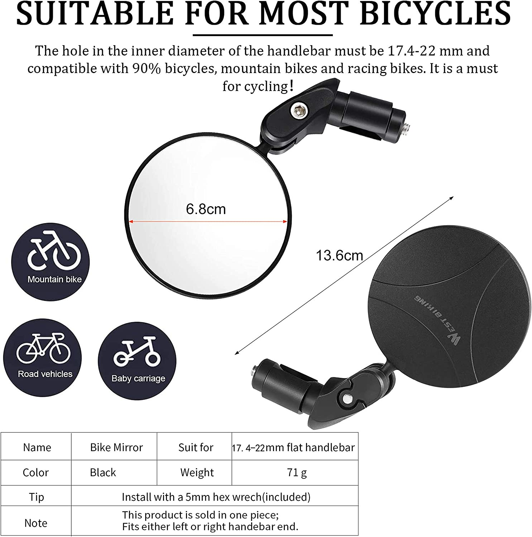 Hbsite Espejos para Bicicleta 360/° Giratorio Ajustable HD Convexo Vista Trasera Segura Espejos para Ciclismo Espejos retrovisores angulares Universales para Bicicletas de Carretera de monta/ña