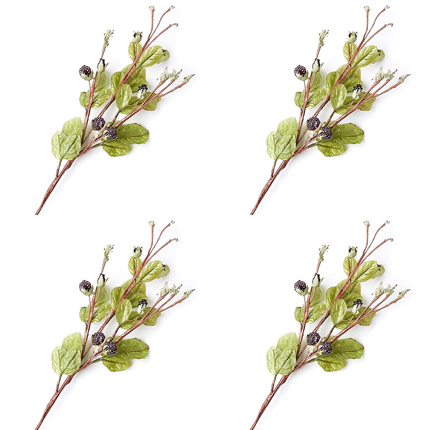 Factory Direct Craft Hand Wrapped Artificial Blackberry Stems for Indoor Use - 4 Stems