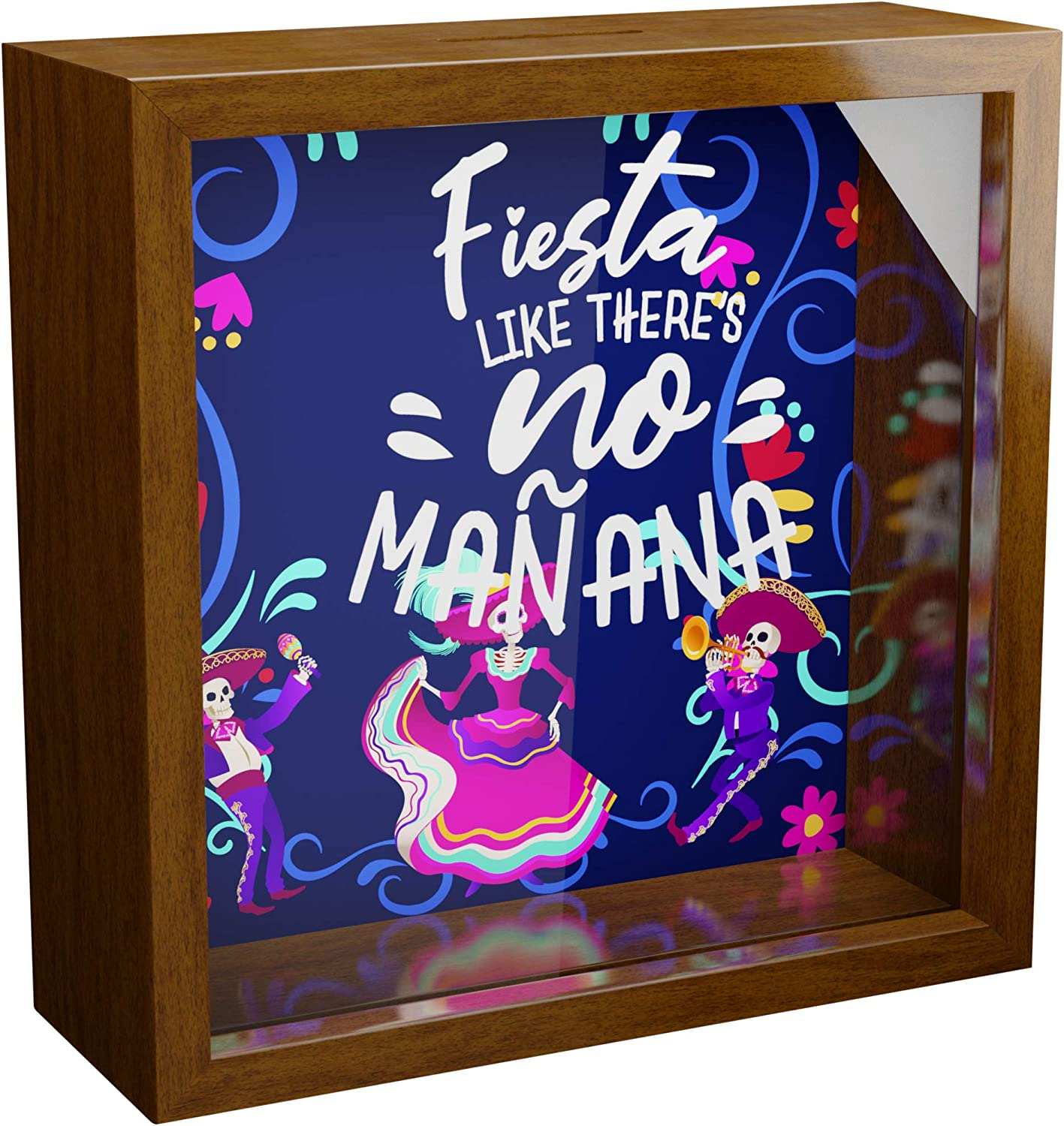 Mexican Gifts for Friends | 6x6x2 Shadow Box with Glass Front | Mexico Decorations for Wall or Tabletop | Wooden Memory Box for Latin Decor | Great for Mexican and Latino Friends