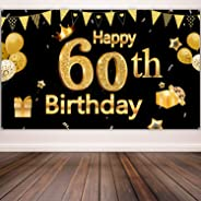 60th Birthday Party Decoration, Extra Large Black Gold Sign Poster 60th Birthday Party Supplies, 60th Anniversary Backdrop Ba