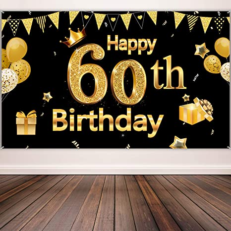 60th Birthday Party Decoration, Extra Large Black Gold Sign Poster 60th Birthday Party Supplies, 60th Anniversary Backdrop Banner Photo Booth Backdrop ...
