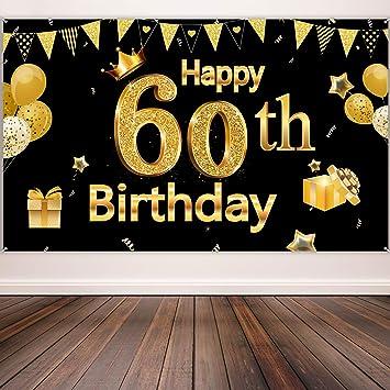 Blulu Decoración de Fiesta de 60 Cumpleaños, Póster de Cartel Dorado Negro Extra Grande Materiales de Fiesta de 60 Cumpleaños, Pancarta de Fondo de 60 ...