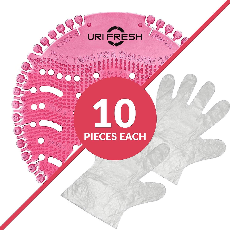 3.0 Estera De Urinario Rosado Fresa por Uri-Fresh Pantalla De Orinal /& Desodorizante 10 unidades con guantes Fresa