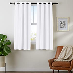 "AmazonBasics Room Darkening Blackout Window Curtains with Grommets- 42"" x 63"", White, 2 Panels"