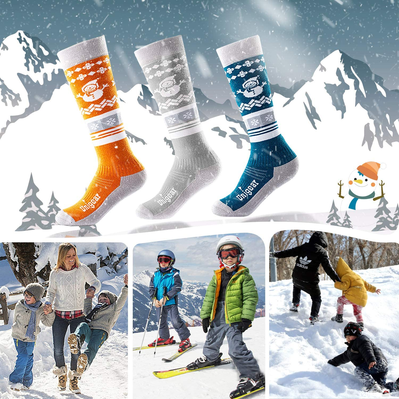 schnelltrocknend warm und atmungsaktiv Unisex Thermo Wintersocken Kniestrumpf Snowboardsocken Jungen und M/ädchen Unigear Merino Wolle Kinder Skisocken Skistr/ümpfe mit Polsterung
