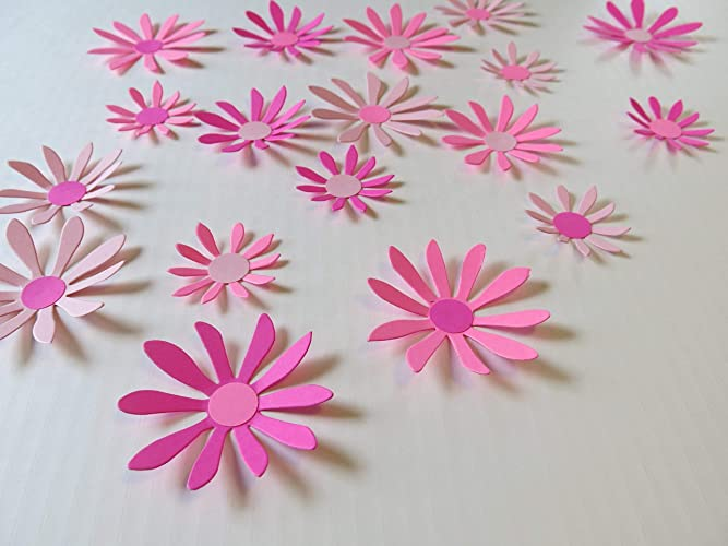 Shades Of Pink Daisies Set 18 3d Wall Decals 2 3 Paper Flowers Princess Bedroom Art Spring Wedding Decorations Bridal Shower Decor