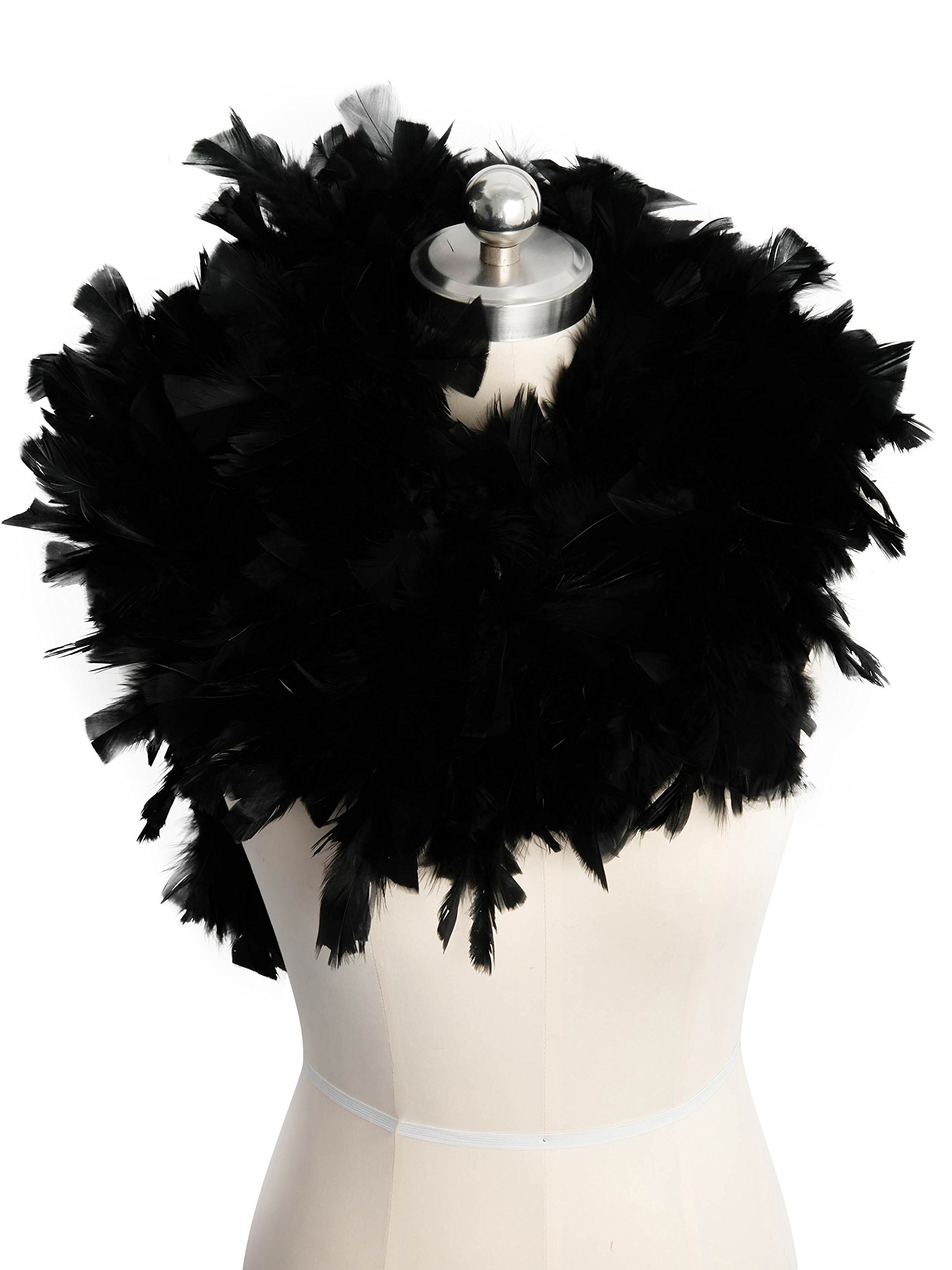 Zivyes 80inch Costume Feather Boas 1920s Flapper Accessories 150g Tea Party Dress up Costume Boa (Black)