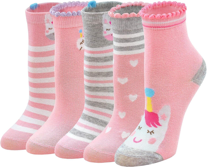 ZAKASA Calcetines de algodón para niños bebés y niños con divertido patrón de flores de conejo unicornio, calcetines de dibujos animados de 2 a 11 años