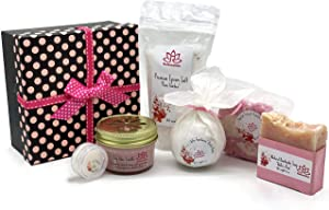 Handcrafted Bath Luxury Spa Gift Set for Women - Natural Oils and Epsom Salt Bath Bombs, Organic Shea Butter Soap - Beautiful Polka Dot Gift Box - Best Gift for Women, Mother, Mom, Girls, Her