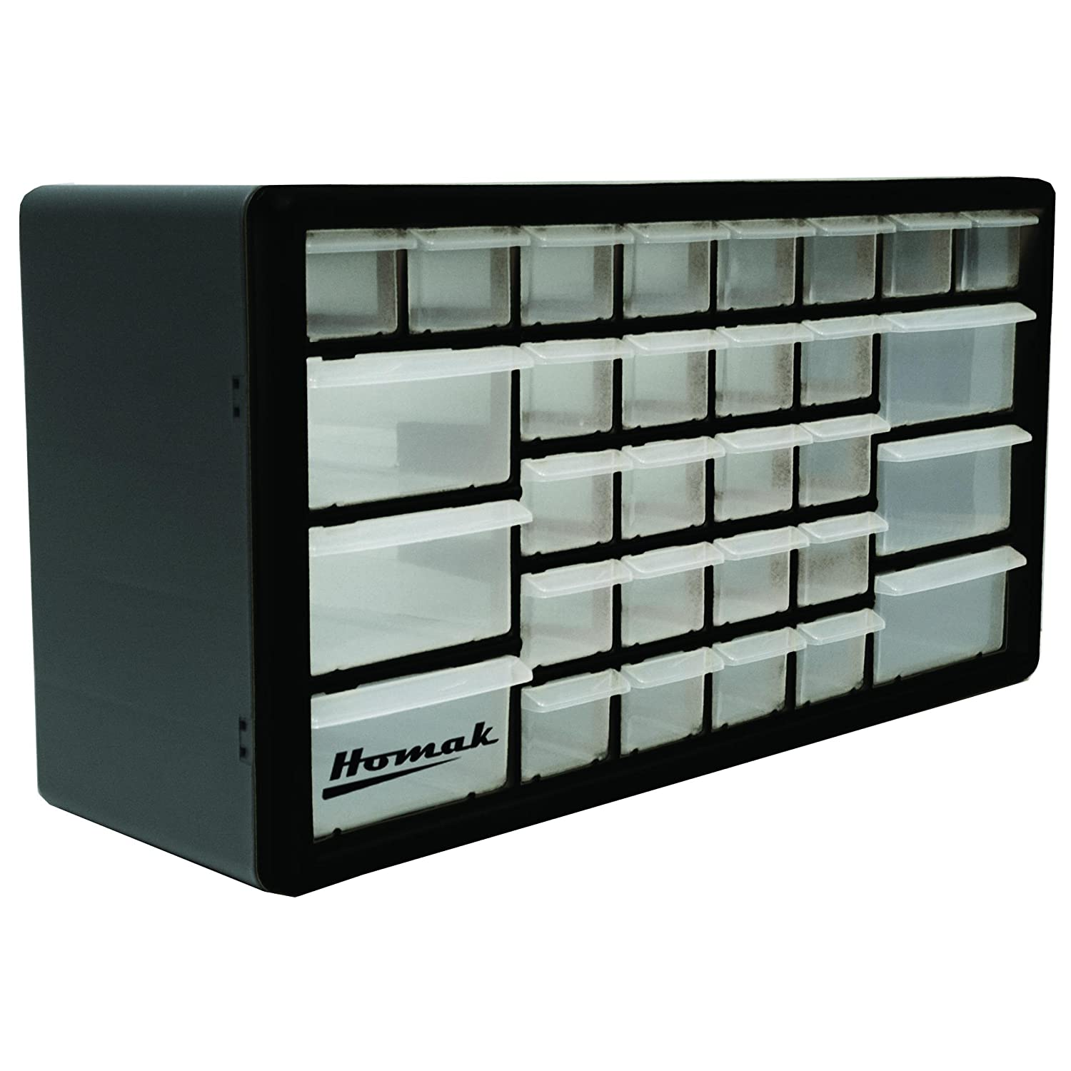 Homak 39 Drawer Parts Organizer Black HA Parts Bin