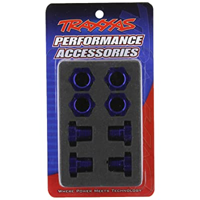 Traxxas 5353X Blue-Anodized Aluminum 17mm Wheel Hubs/Nuts (set of four): Toys & Games