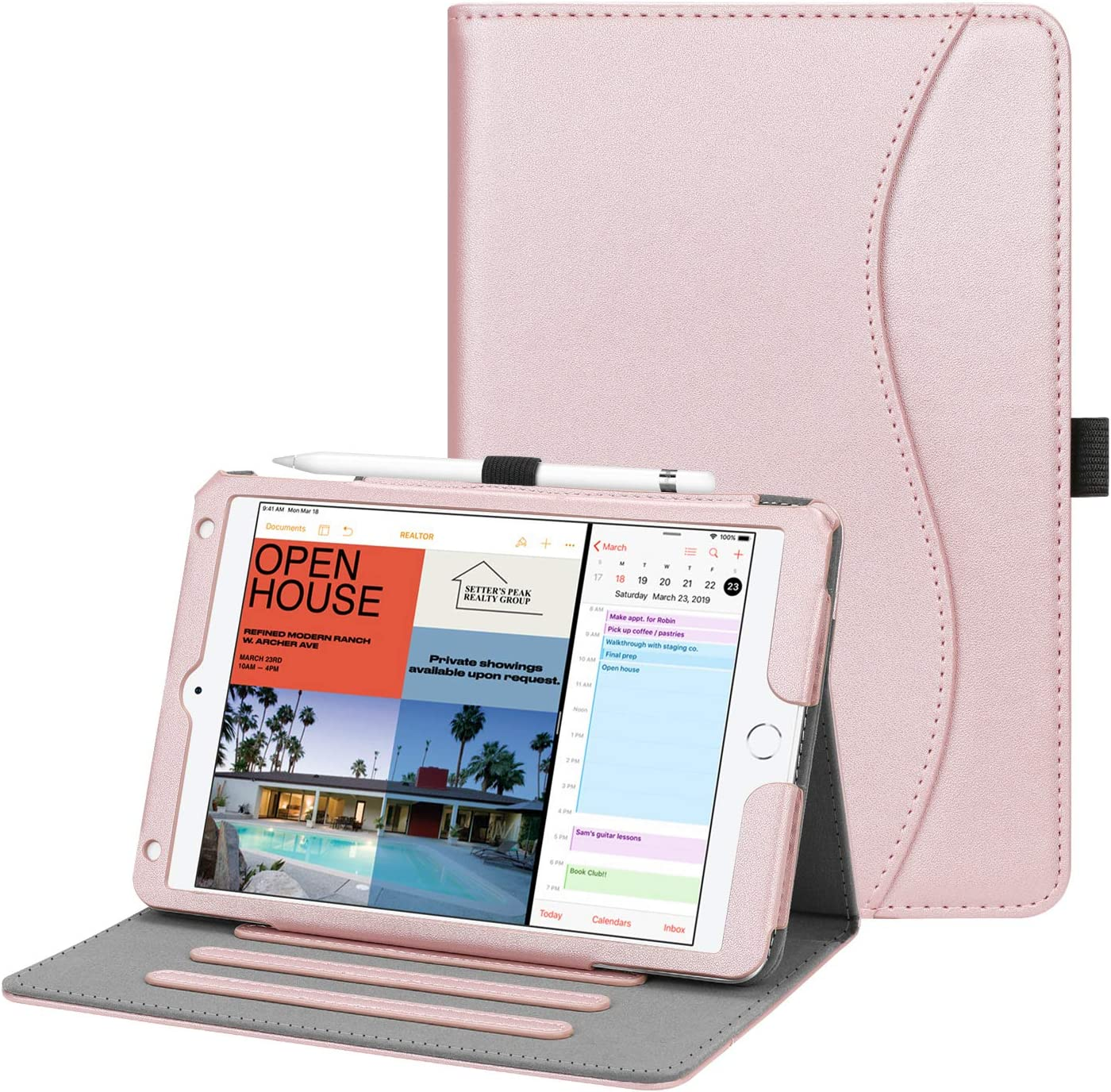 Fintie Case for iPad Mini 4 - [Corner Protection] Multi-Angle Viewing Folio Smart Stand Protective Cover with Pocket, Auto Wake/Sleep, Compatible with iPad Mini 5th Gen 2019 (Rose Gold)