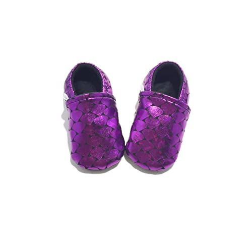 Amazon.com: MERMAID CRIB SHOES, purple baby moccasins, mermaid baby shower gift, girl baby booties, mermaid baby, purple baby booties, soft sole baby shoes: ...