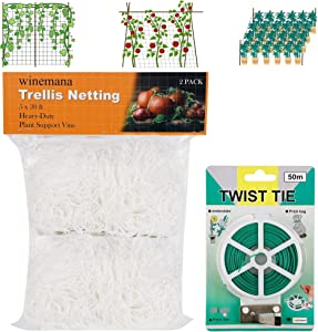 winemana 2 Pack Garden Elastic Trellis Netting, 5 X 30 FT, Heavy-Duty Polyester White with 164 FT Twist Tie, 6 in Mesh Size Ensure Health for Climbing Plants, Fruits, Vegetables