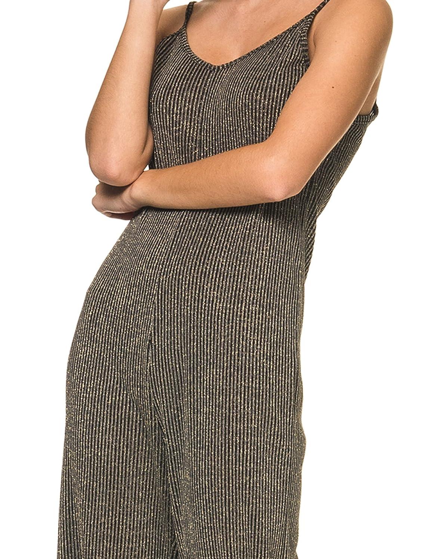 829124604b56 Amazon.com  LA DOLLS Women s Metal -Gold Lurex Jumpsuit Black in Size Medium   Clothing