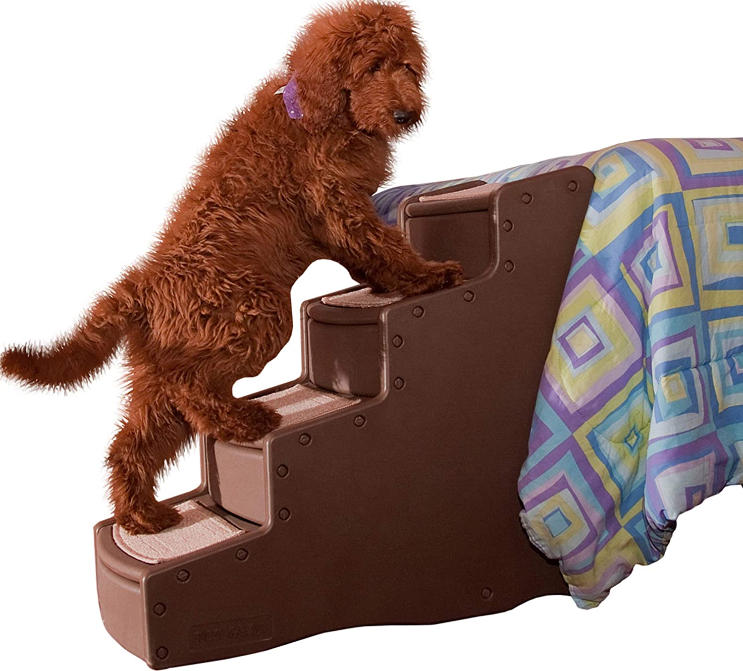 Pet Gear Easy Step IV Pet Stairs, 4-step/for cats and dogs up to 150-pounds, Chocolate : Pet Supplies