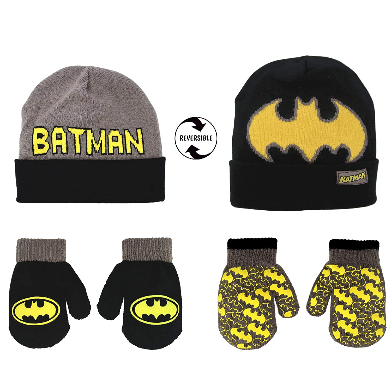 Batman Little Boys Toddler Cuff Beanie Hat /& Mitten Set