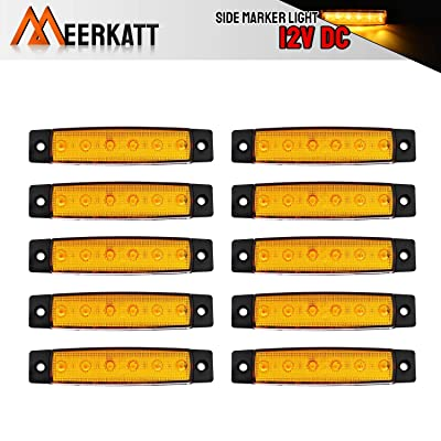 Meerkatt (Pack of 10) 3.8 Inch Amber 6 LED Side Marker Indicators Clearance Lamp Turn Signal Tail Light Universal All Vehicles Car Truck Trailer Bus Jeep Pickup Lorry Boat RV Camper 12V DC Model TK12: Automotive