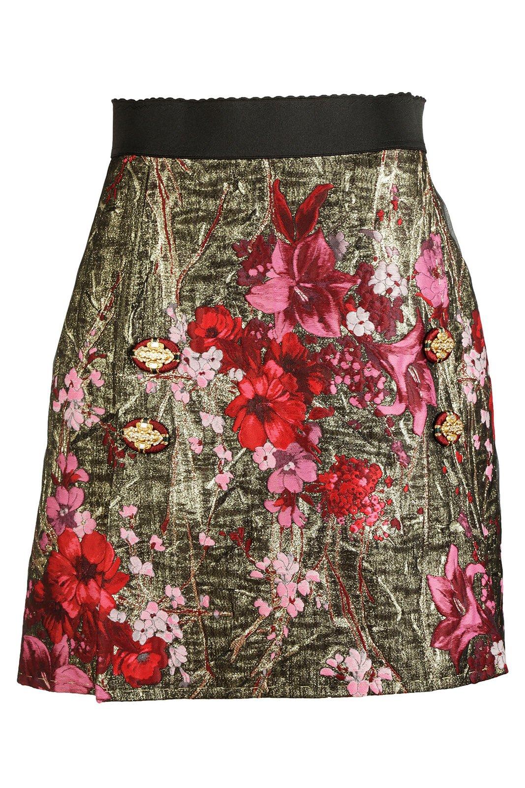 Dolce&Gabbana Women's Skirt Mini Short Jacquard Gold US Size 44 (US 32) F4AZNZFJM2ES8350