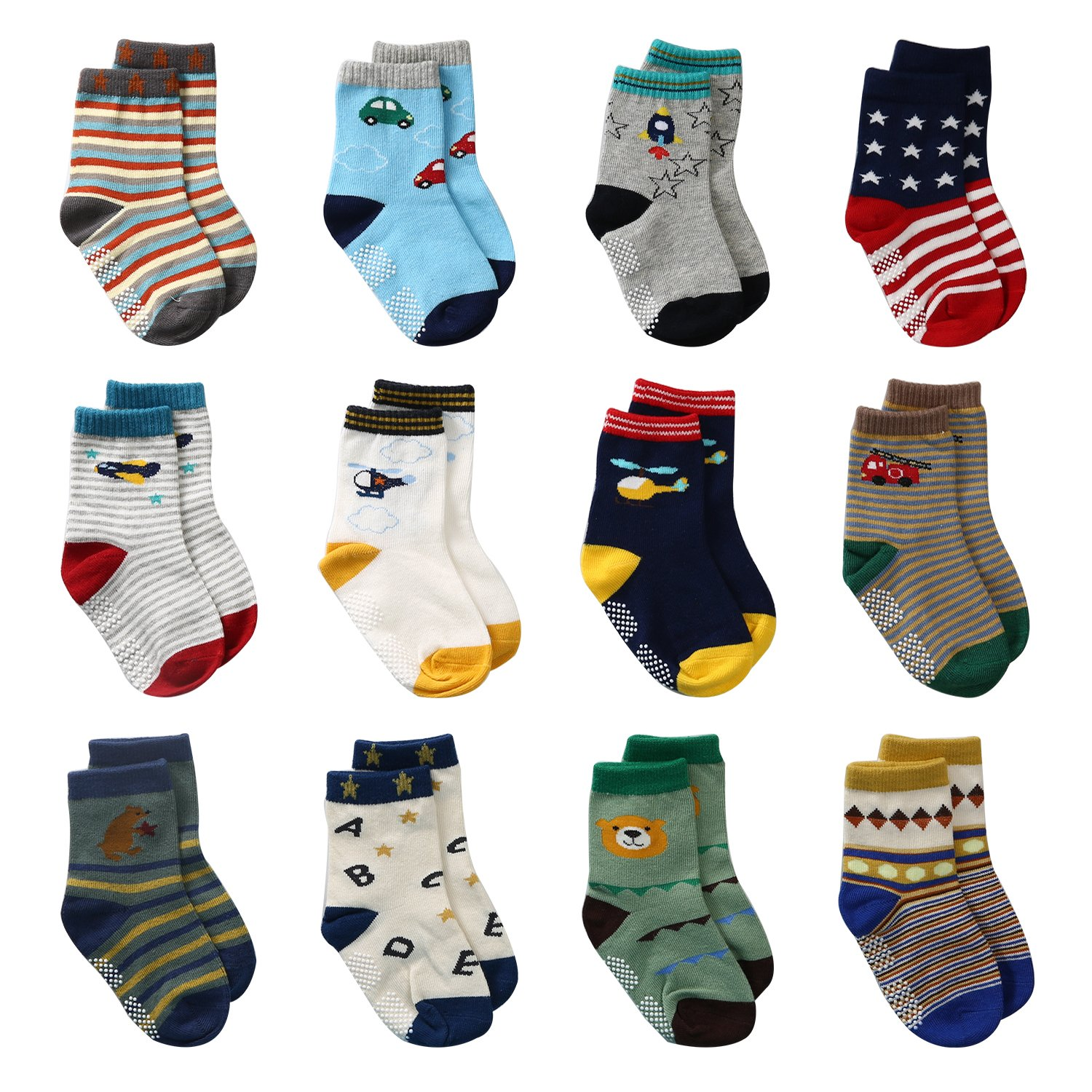 LAISOR 12 Pairs Assorted Non-Skid Ankle Cotton Socks with Grip For Kids Toddlers Baby LA711715