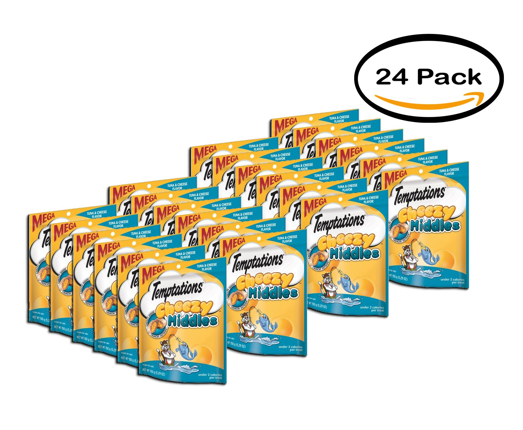 PACK OF 24 - TEMPTATIONS Cheezy Middles Treats for Cats Tuna and Cheese Flavor 5.29 Ounces